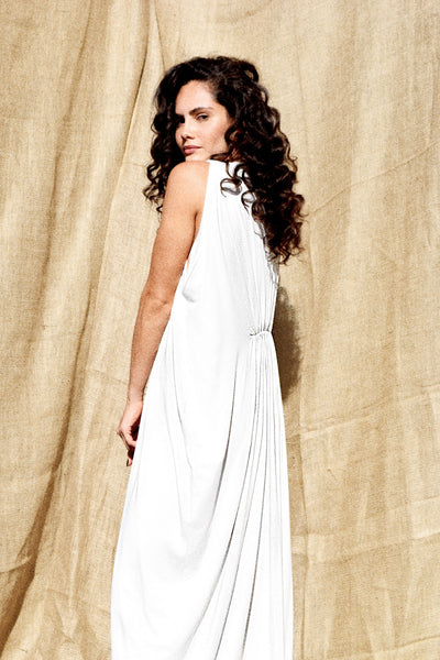 Gold Bottom Arc Dress in White 5
