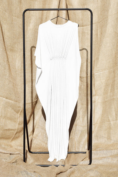 Gold Bottom Arc Dress in White 6