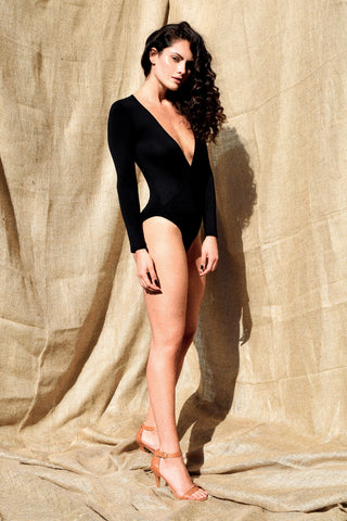 Gold Bottom Brave Bodysuit in Black