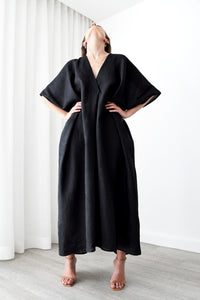 Gold Bottom Kin Kaftan in Black 1