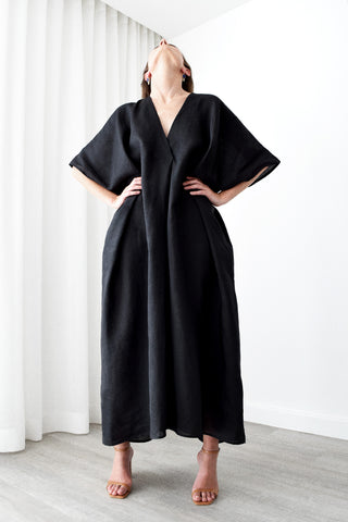 Gold Bottom Kin Kaftan in Black