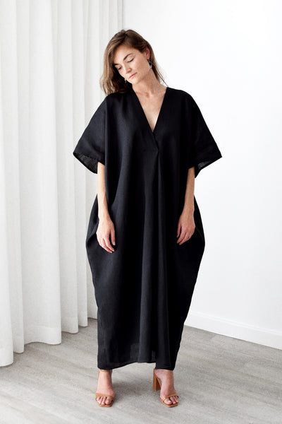Gold Bottom Kin Kaftan in Black 4