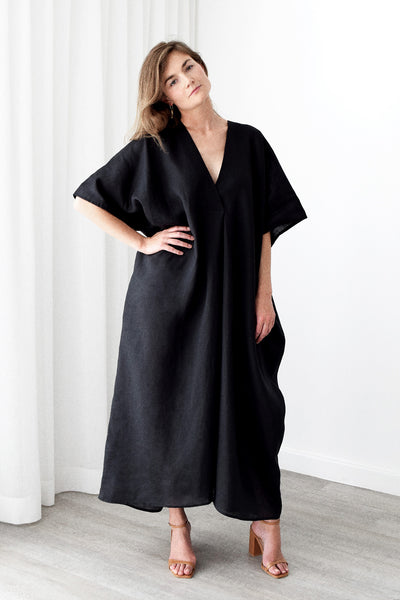 Gold Bottom Kin Kaftan in Black 3