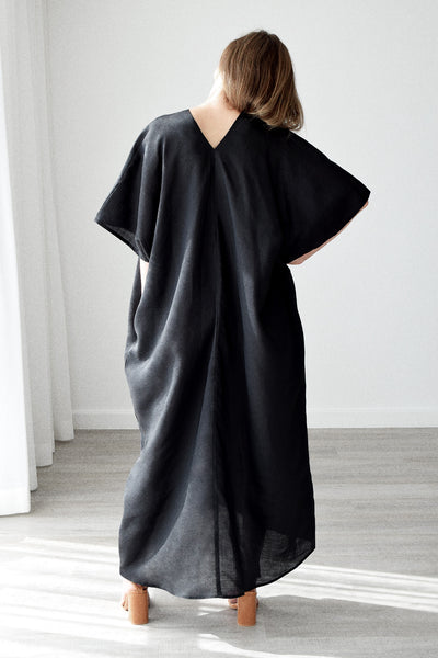 Gold Bottom Kin Kaftan in Black 5