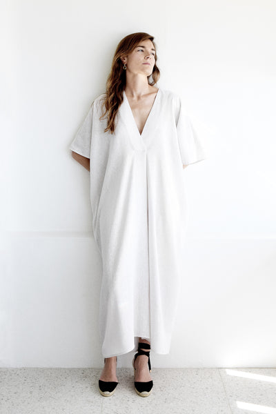 Gold Bottom Kin Kaftan in Natural White Linen 6