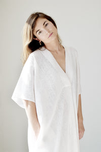 Gold Bottom Kin Kaftan in Natural White Linen 1