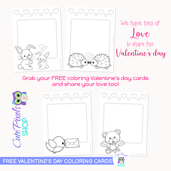 Valentine's Day FREE Coloring Cards