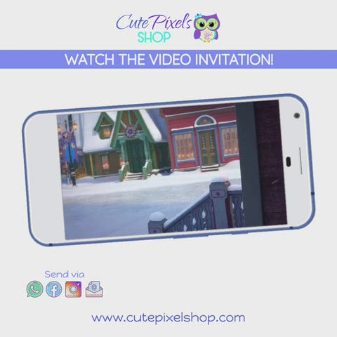 Christmas Olaf Birthday Video Invitation, Disney Frozen Christmas Invitation, watch video here