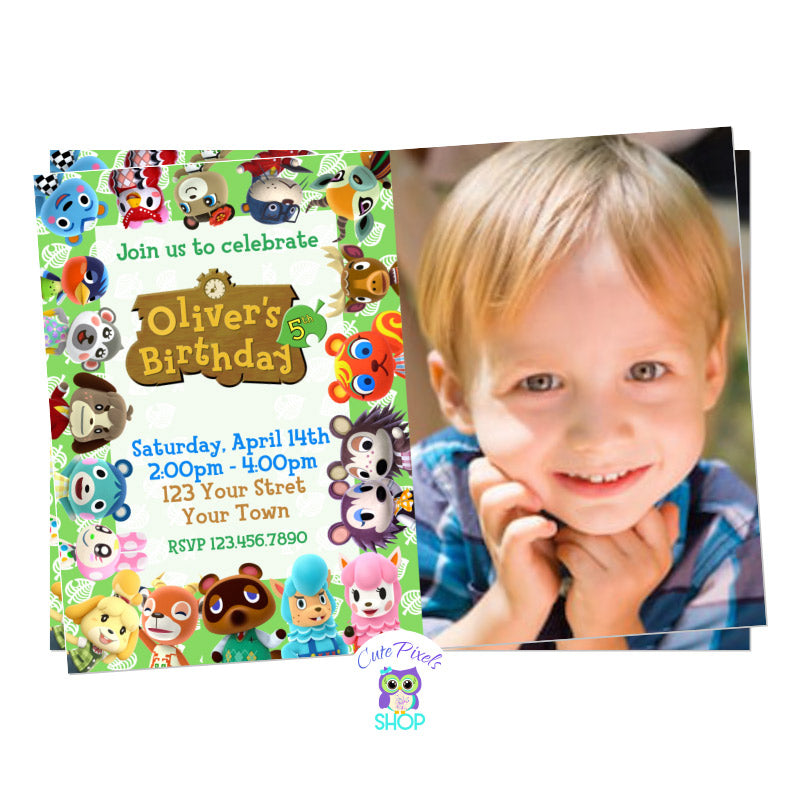 Animal Crossing invitation with Child's photo on it, to have a perfect start for your Animal Crossing Birthday!