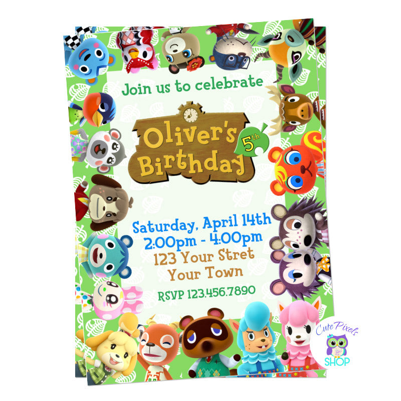 Animal Crossing Birthday Invitation with all Animal Crossing characters around border.