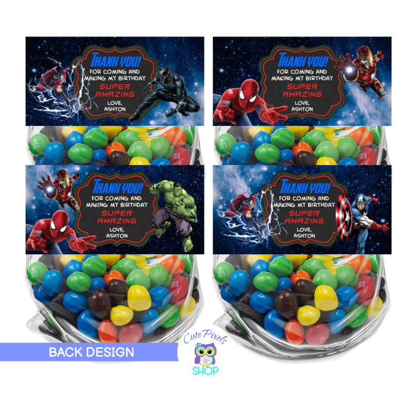 Avengers Bag toppers. Avengers treat bag labels with front and back design to fold onto favor bags including Avengers, captain America, Iron Man, Hulk, Black Panther, Spiderman. Thank you message on back