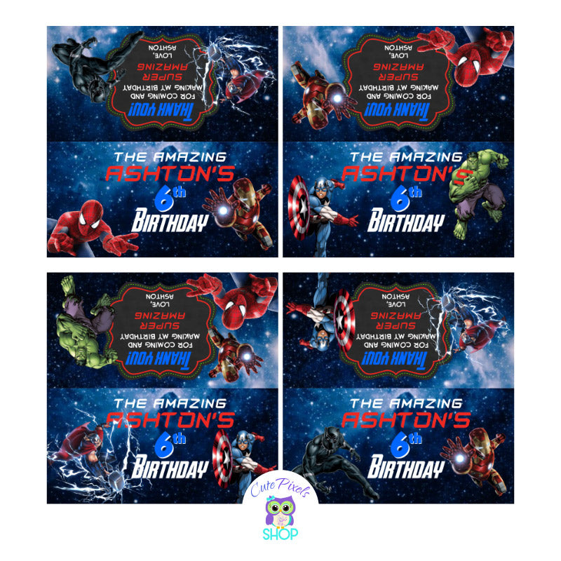 Avengers Bag toppers. Avengers treat bag labels with front and back design to fold onto favor bags including Avengers, captain America, Iron Man, Hulk, Black Panther, Spiderman. Use as party favors
