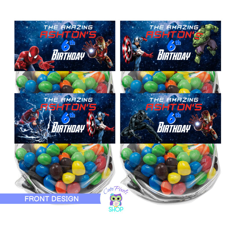 Avengers Bag toppers. Avengers treat bag labels with front and back design to fold onto favor bags including Avengers, captain America, Iron Man, Hulk, Black Panther, Spiderman.