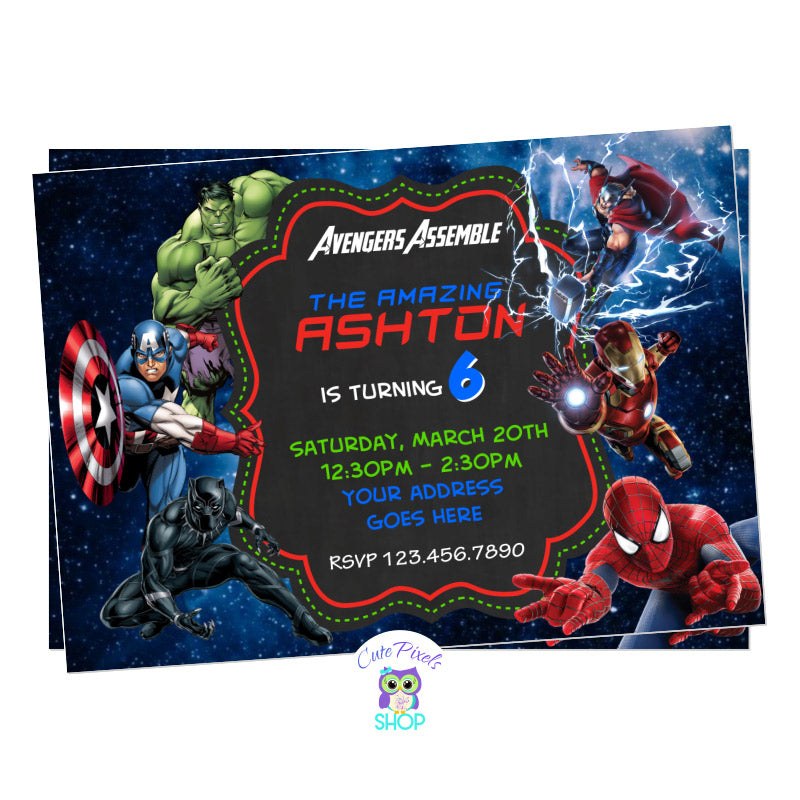 Avengers Invitation with all Superheroes ready for a birthday, including Captain America, Iron Man, Hulk, Thor, Black Panther and Spiderman