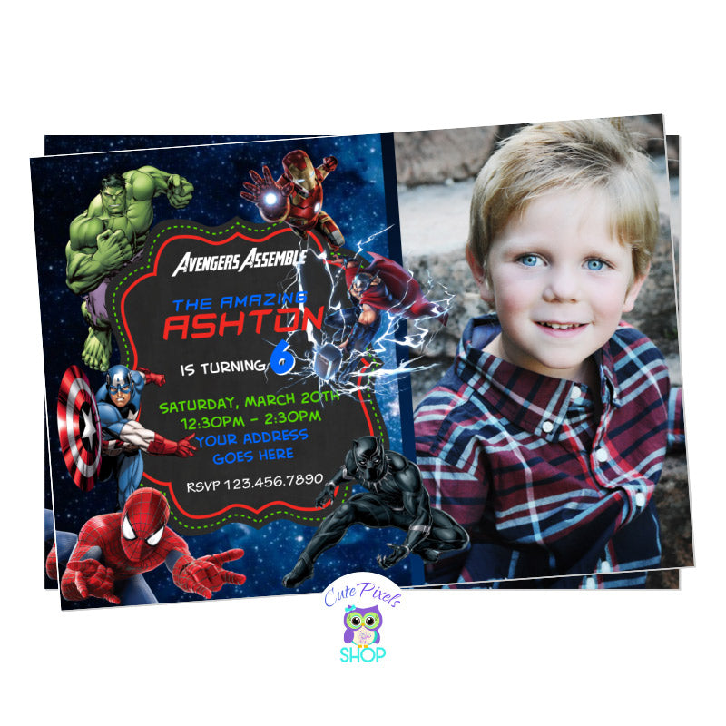 Avengers Invitation with all Superheroes ready for a birthday, including Captain America, Iron Man, Hulk, Thor, Black Panther and Spiderman with child's photo