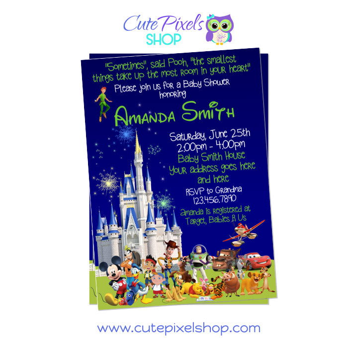 Disney Characters and Castle Baby Shower Invitation for Boys