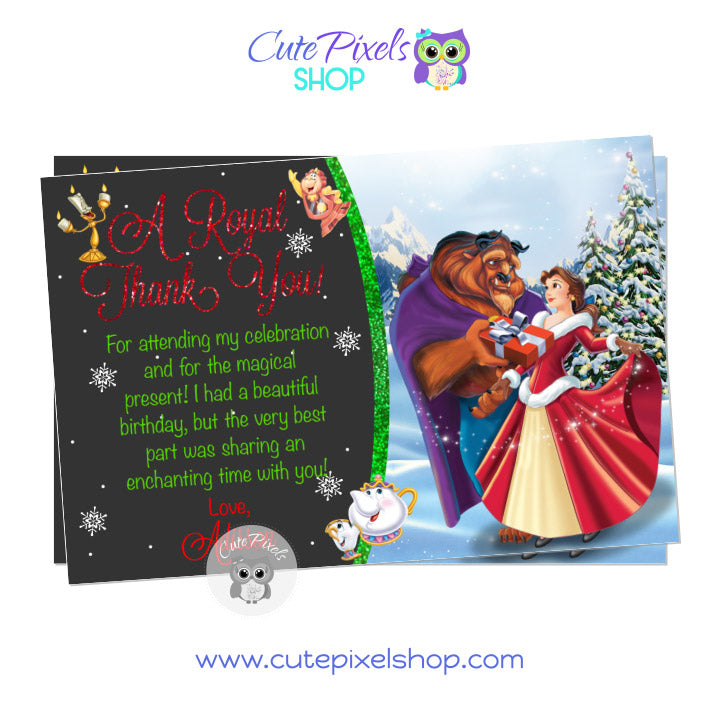 Beauty and The Beast Christmas Birthday Thank You Card