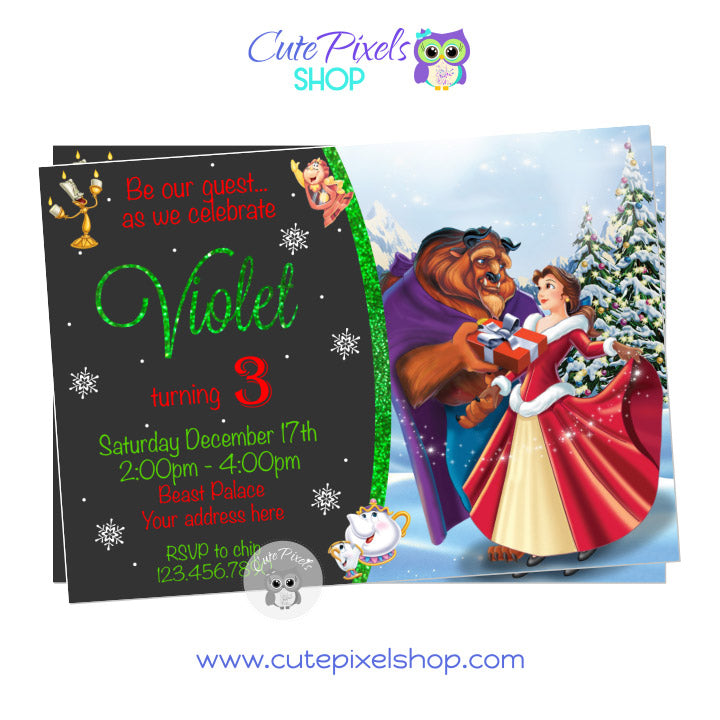 Beauty and The Beast Christmas Birthday Invitation