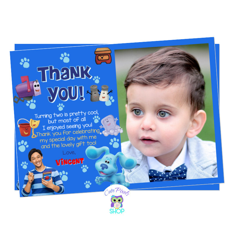 Blue's Clues and you thank you card with child's photo