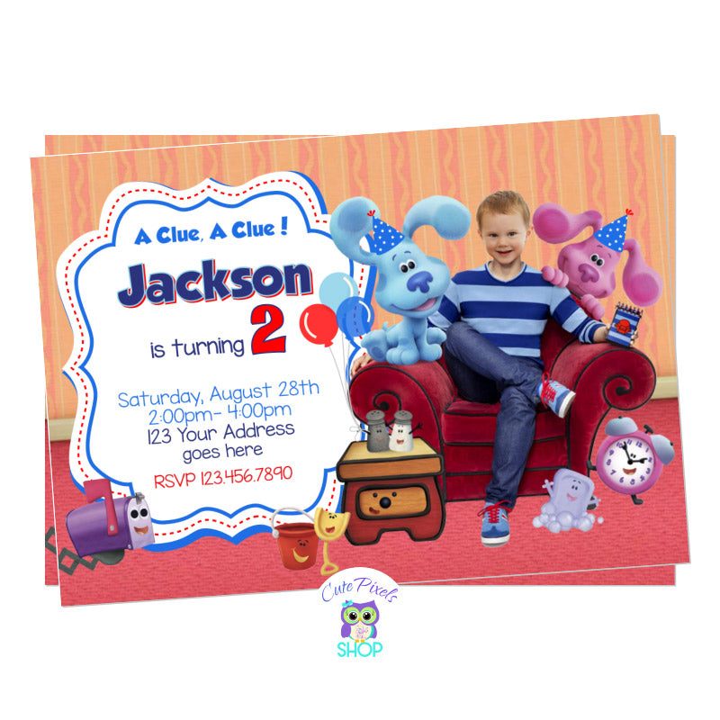 Blue Clues invitation staring your child as Josh, toghether with Blue, Slippery, Table, Salt and Pepper ready for a Blue Clues birthday.
