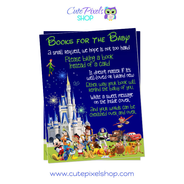 Disney Characters and Castle Baby Shower Bring a book card for Boys