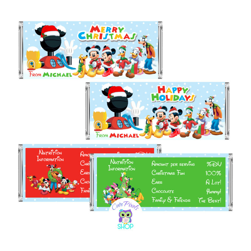 Christmas Mickey Mouse Candy Bar wrappers with name on it. Customised Mickey mouse candy bar labels. Candy Bar wrappers with all Mickey Clubhouse characters for christmas