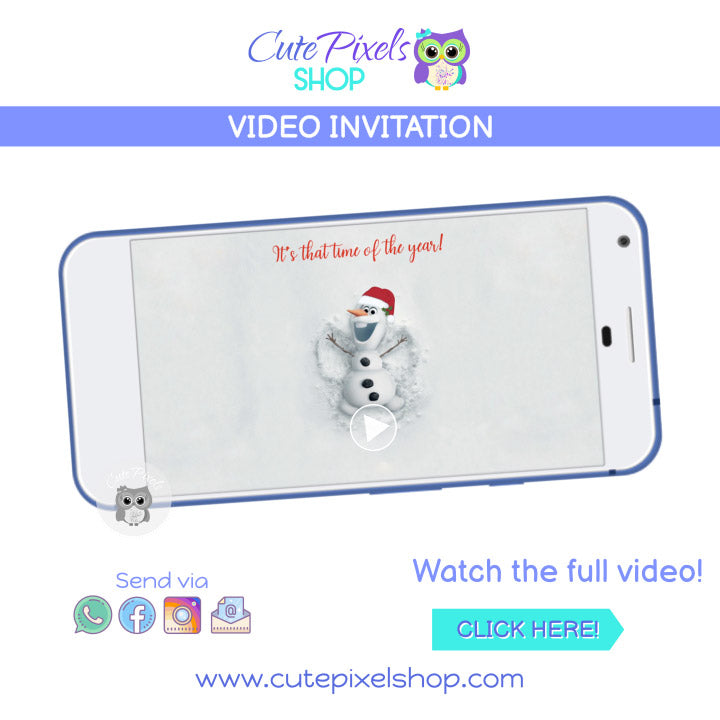 Christmas Olaf Birthday Video Invitation, Disney Frozen Christmas Invitation