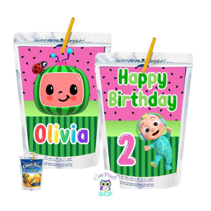 Cocomelon Capri Sun Labels with a pink watermelon pattern, Cocomelon logo, baby and characters. Customized with name and age