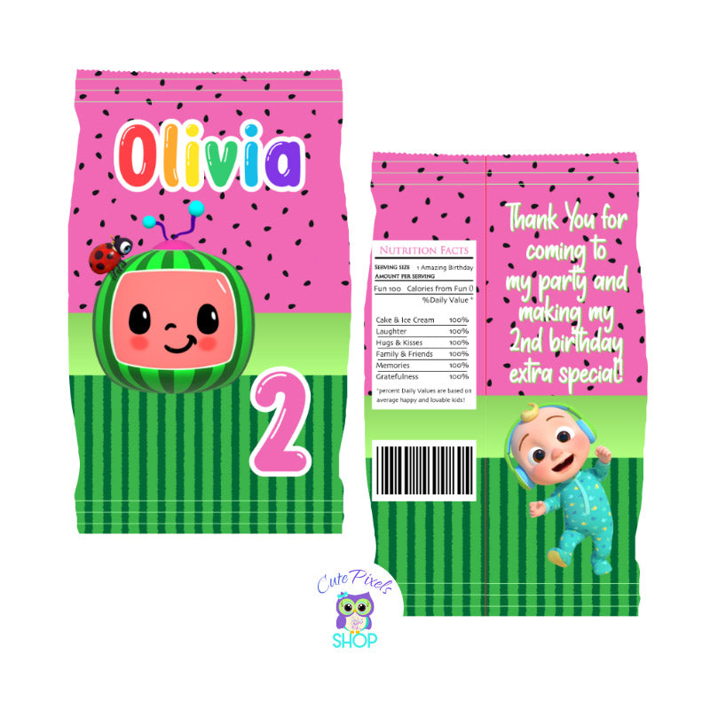 Cocomelon Chip Bag. Pink Design with Cocomelon logo and Watermelon pattern in pink and green. Customzied with name and age