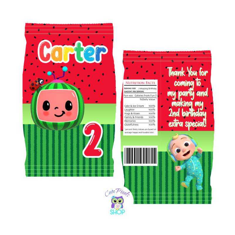 Cocomelon Chip Bag. Red Design with Cocomelon logo and Watermelon pattern in pink and green. Customzied with name and age