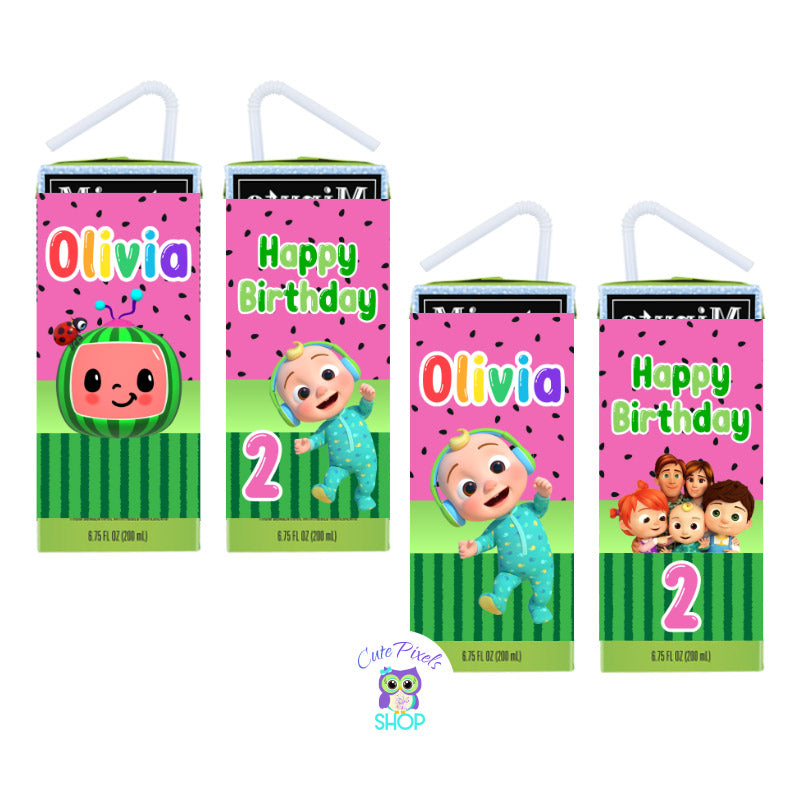 Cocomelon Juice box Labels with a pink watermelon pattern, Cocomelon logo, baby and characters. Customized with name and age
