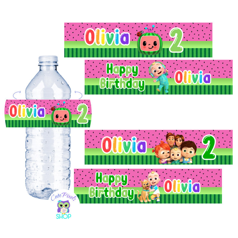 Cocomelon Water Bottle Labels with a pink watermelon pattern, Cocomelon logo, baby and characters. Customized with name and age