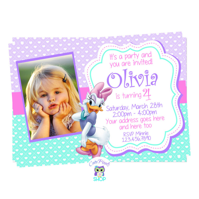 Daisy Duck Birthday Invitation with child's photo. Daisy Duck on a Purple and turquoise background full of hearts.