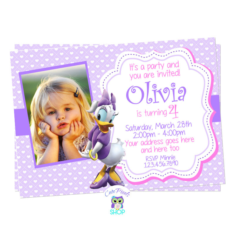 Daisy Duck birthday invitation with child's photo. Purple background with hearts and Daisy Duck on it for a cute Daisy Duck Birthday party
