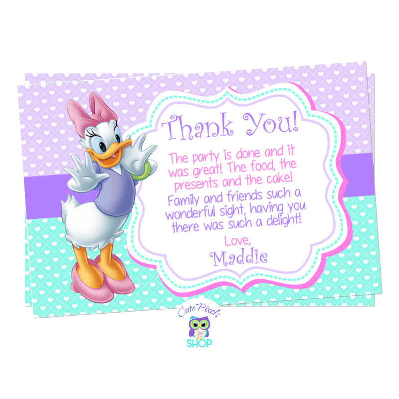 Daisy Duck thank you card with child's photo for a Daisy Duck Birthday. Daisy on a Purple and turquoise background full of hearts.