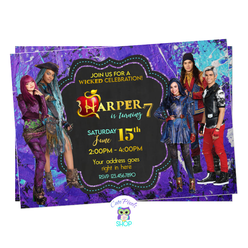 Descendants invitation from Descendants 2 movie with Mel, Evie, Carlos, Jay and Uma. Purple and teal grunge background.
