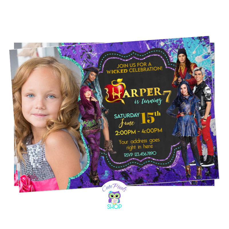 Descendants invitation from Descendants 2 movie with Mel, Evie, Carlos, Jay and Uma. Purple and teal grunge background. Includes your child's photo