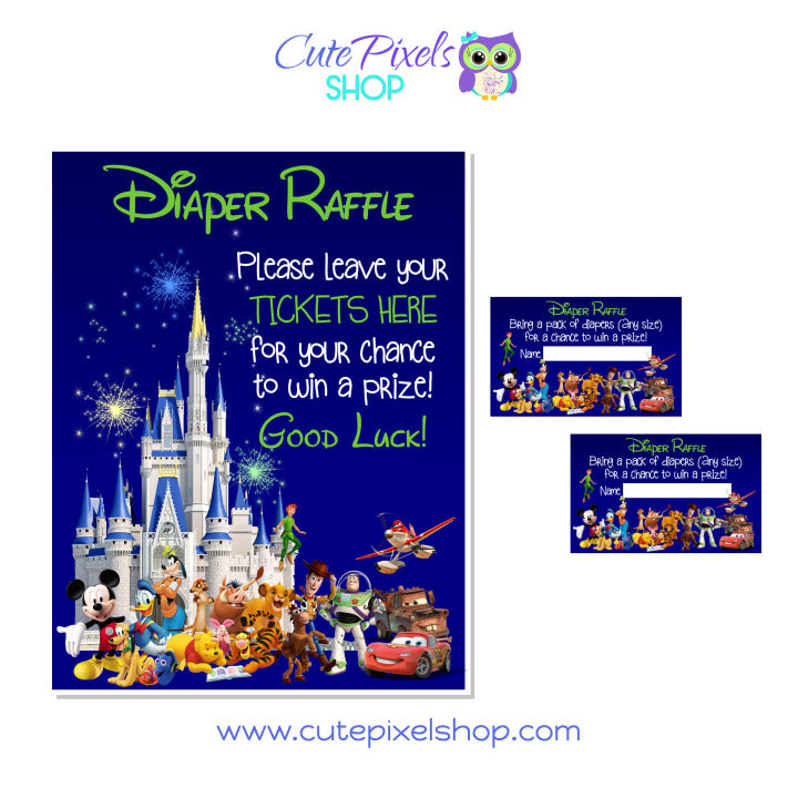 Disney Characters and Castle Baby Shower Diaper Raffle for Boys