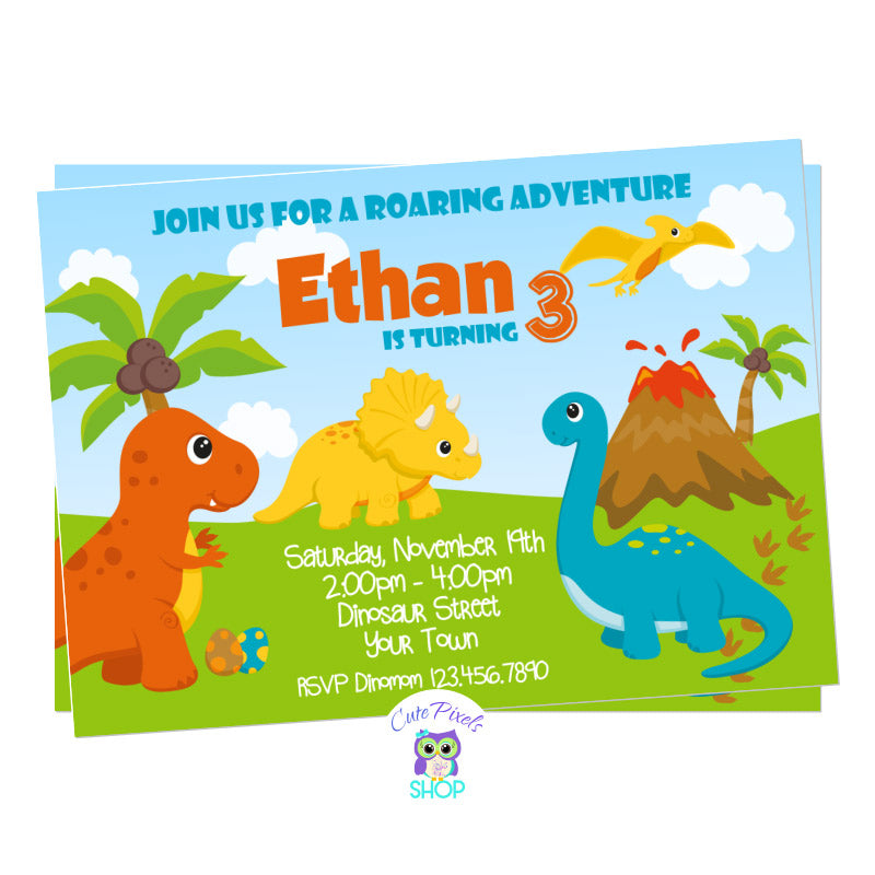 Dinosaur Birthday Invitation with cute dinosaurs in Orange, Blue, yellow and green for a Roaring Dinosaur birthday party