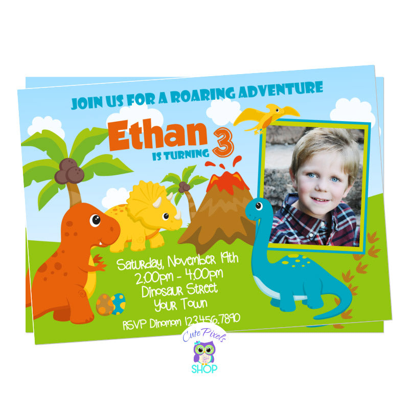 Dinosaur Birthday Invitation with cute dinosaurs in Orange, Blue, yellow and green for a Roaring Dinosaur birthday party. Includes Child's photos