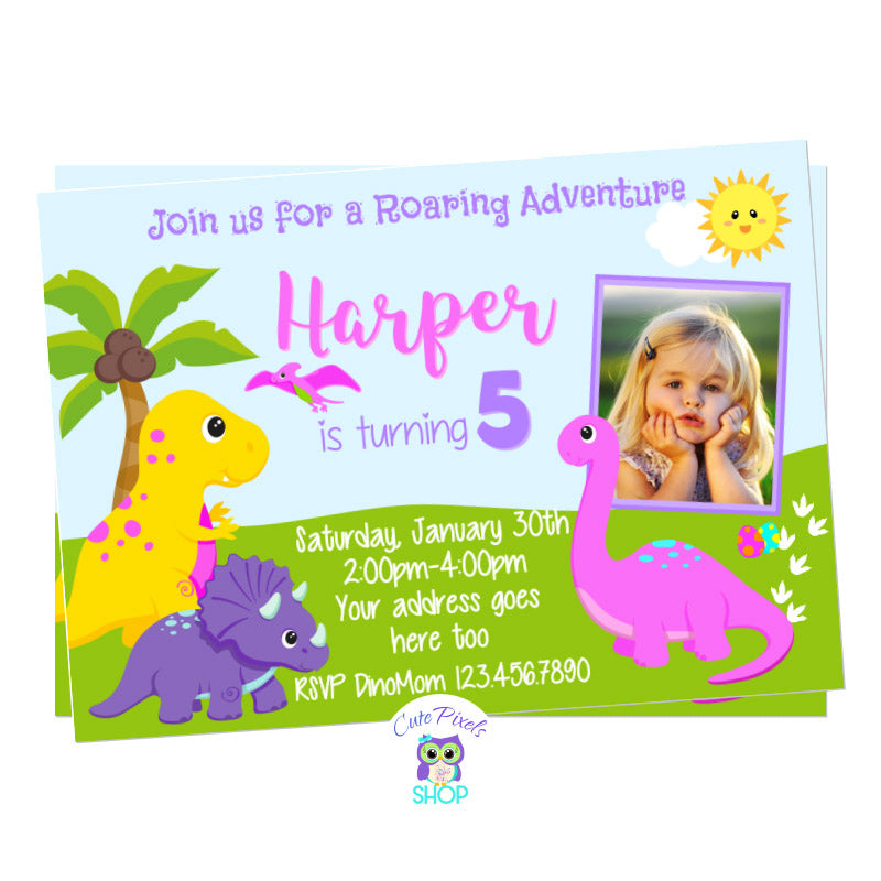 Dinosaur Birthday Invitation for girl with cute dinosaurs in Pink, purple, yellow and green for a Roaring Dinosaur birthday party. Includes child's photo