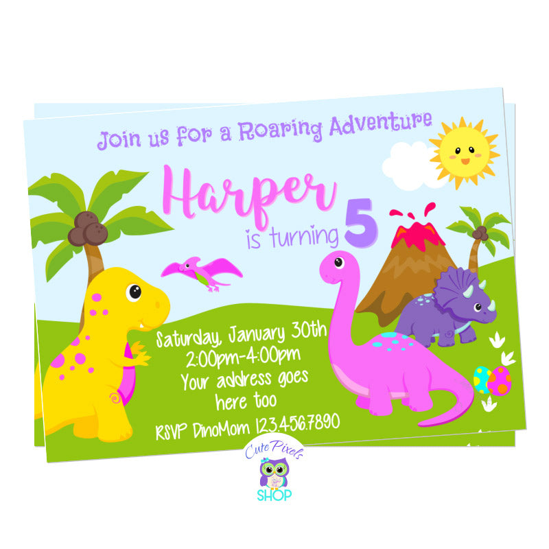 Dinosaur Birthday Invitation for girl with cute dinosaurs in Pink, purple, yellow and green for a Roaring Dinosaur birthday party