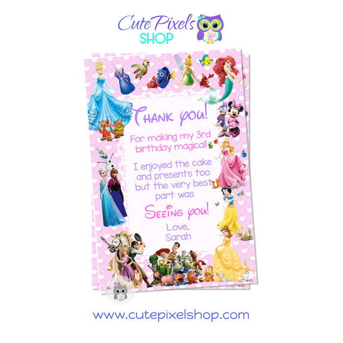 Disney Characters Thank You Card for girl in Pink