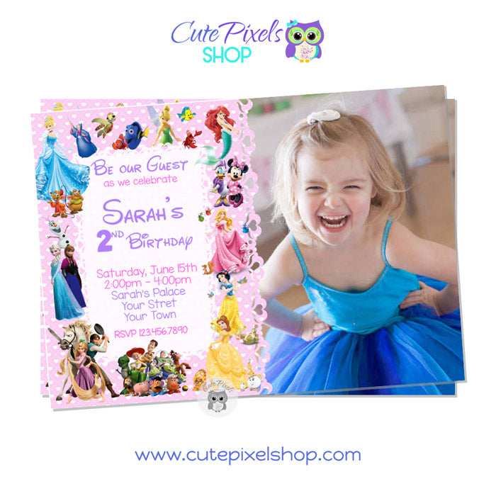 Disney Characters Invitation for girl in Pink with child's photo