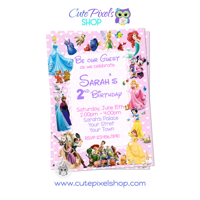 Disney Characters Invitation for girl in Pink