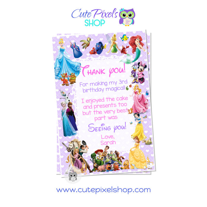 Disney Characters Thank You Card for girl in Purple