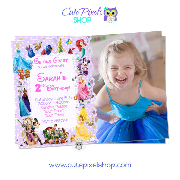 Disney Characters Invitation for girl in Purple with child's photo