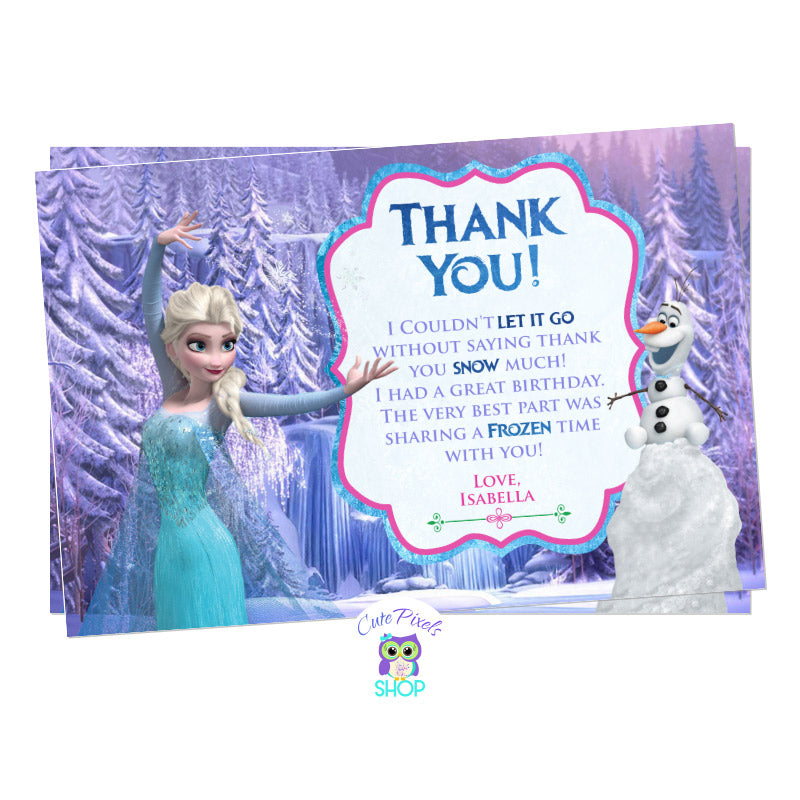 Disney Frozen Birthday Thank You Card. Elsa Card with a cute purple background from the Disney Frozen movie, queen Elsa and cute pink and purple text.