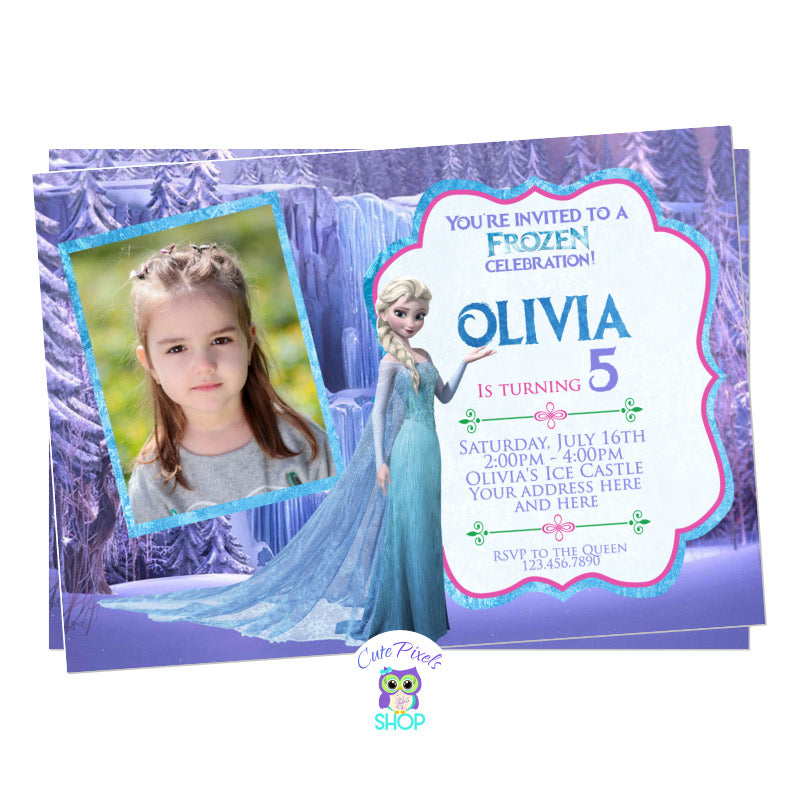 Disney Frozen Birthday Invitation. Elsa invitation with a cute purple background from the Disney Frozen movie, queen Elsa and cute pink and purple text. Includes your child's photo.