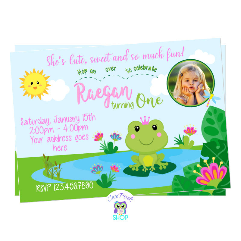 Frog birthday invitation, cute princess frog birthday invitation with a cute frog wearing a crown in a pond, pink and green colors. Includes Child's Photo